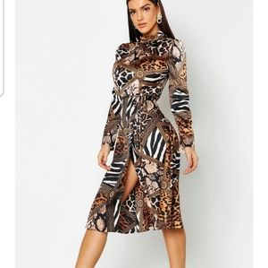Mixes animal print dress boohoo